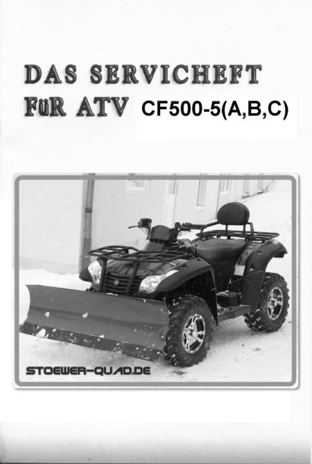 serviceheft f r die cf moto 500 x5 series stoewer quad. Black Bedroom Furniture Sets. Home Design Ideas
